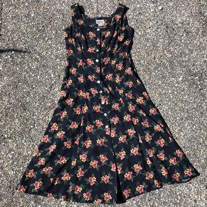 Vintage floral button down maxi dress